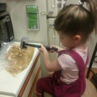 Mini Chef Crushing Graham Crackers
